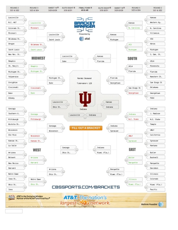 My Bracket... No Further Comments